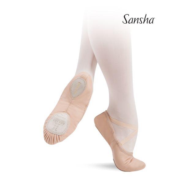 Sansha demi-pointes cuir souple bi-semelle ENTRECHAT 8L