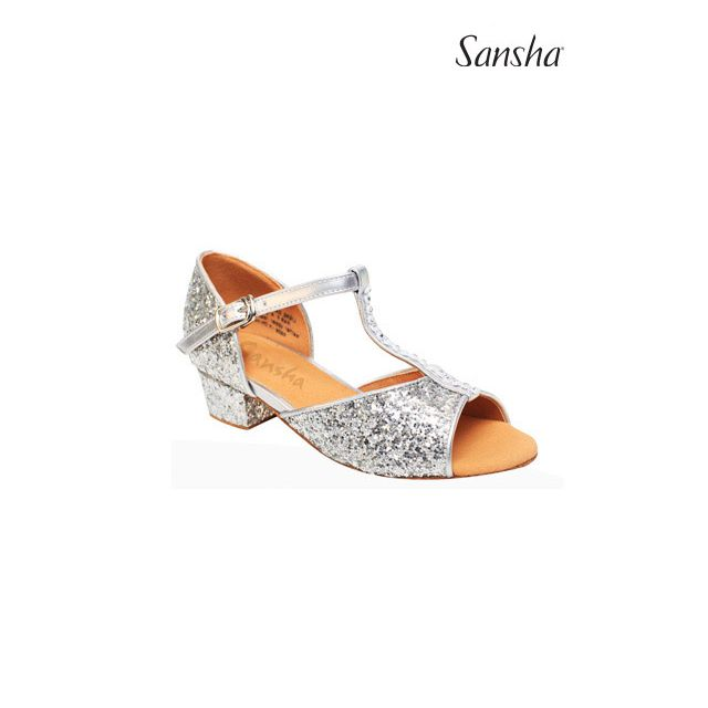 Sansha chaussures danse salon pailletees enfant ALEXA BK13046GL