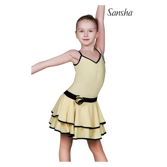 Sansha robe fines bretelles danse de salon BLANCA Y1708P